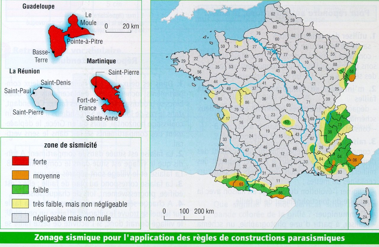 Map of the seismic zoning in France